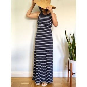 Nautical Blue & White Stripe Maxi Dress